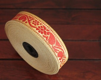 1 yard-Red & Golden Jacquard Trims-Woven Ribbon-Decorative Art Quilts fabric trim-Designer Silk Saree Border Trim-Brocade Fabric Trim
