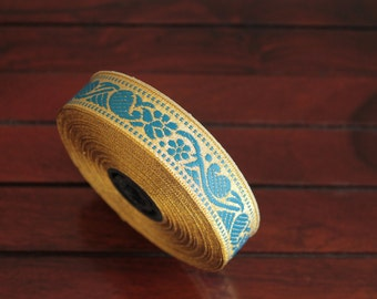 1 yard-Blue & Golden Jacquard Trims-Woven Ribbon-Decorative Art Quilts fabric trim-Designer Silk Saree Border Trim-Brocade Fabric Trim
