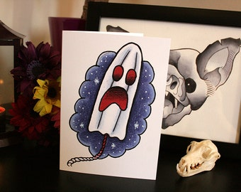 Phantom Tampon – A6 Blank Greeting Card – Tattoo Illustration
