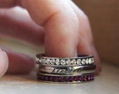 Personalized Name Ring Birthstone Stacking Rings Silver Mothers Ring Gift for Her