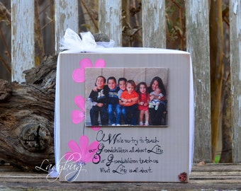 """While we try to teach our Grandchldren...""""block 11""""x11"""" and photo 5x7"""". by Ladybug Design by Eu."""