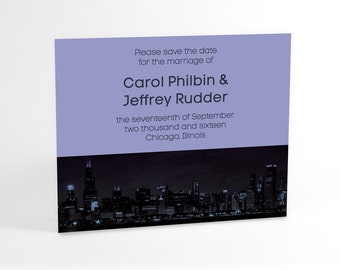Chicago skyline Save The Date cards in your choice of color accent, urban, chic, contemporary style, modern wedding announcement invites