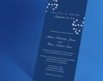 Blue and White Wedding Invite with Babys Breath, or Choose Your Custom Color, Minimalist Traditional Invitation Suite Design