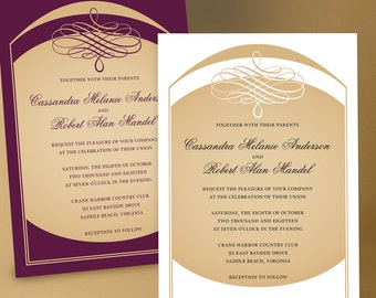 Elegant swirls Wedding Invitation Suite with curved arches and sophisticated lines. Gold on white, black or any color to match your wedding