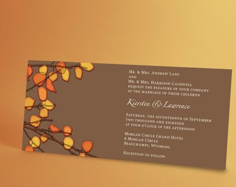 Fall Wedding Invitation Suite with Autumn Orange Leaves, Autumn Wedding, Choose the Colors for the Season or Your Wedding Theme