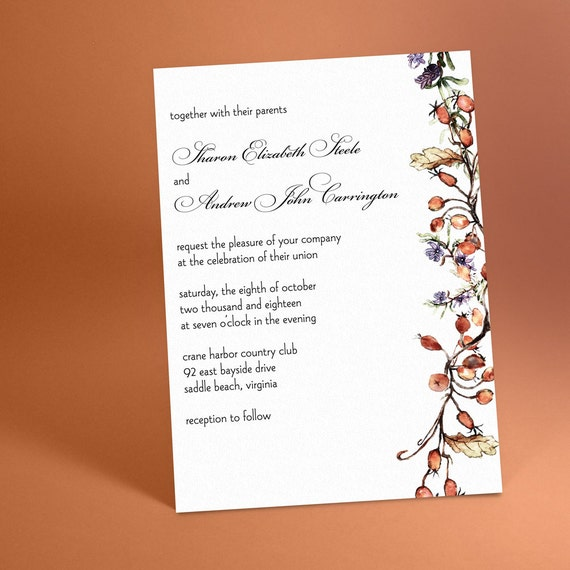 Vineyard Wedding Invitations with Hanging Vine, Vintage Inspired, Classical Design. Winter Wedding or Wine Tasting Invitations