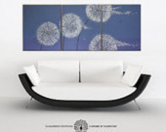 """Three piece wall art. Large abstract art """"Transformation"""". Dandelion abstract painting triptych. Swarovski® crystals & glitter. Three panel."""