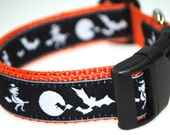 "Witches, Bats, and Moons - 1"" Adjustable Dog Collar - Limited Availability"