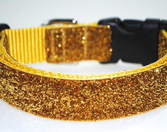 "Gold Metallic Glitter 1"" Width Adjustable Collar"