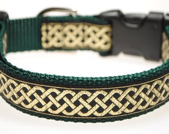 "Black and Metallic Gold Celtic Knot Jacquard 1"" Adjustable Dog Collar"