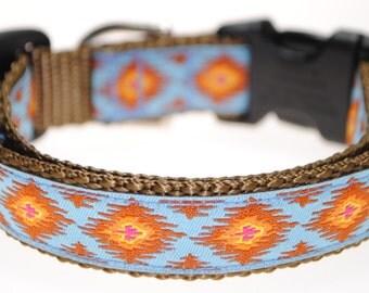 "Ikat - Blue - 3/4"" Adjustable Dog Collar"