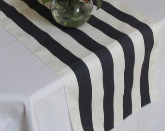 Striped Table Runner White  and Navy Blue White Edges Wedding Table Runner - Select A Size