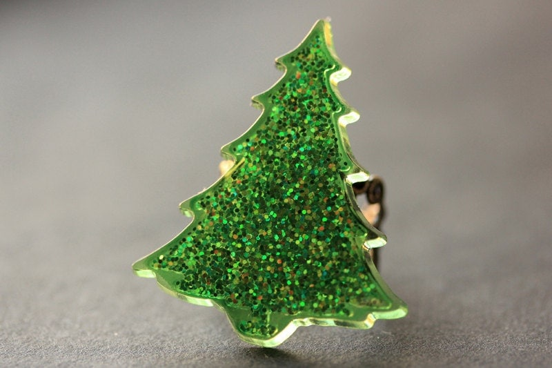 Christmas tree ring glitter holiday