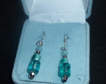REDUCED Aqua Mix  Beaded  Earrings
