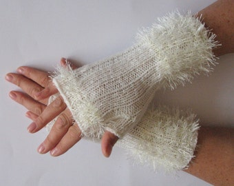 Fingerless Gloves Mittens White Arm Warmers Knit Acrylic