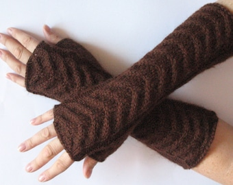 """Fingerless Gloves Arm Warmers Brown 11"""" Mittens Knit Soft Acrylic Mohair"""