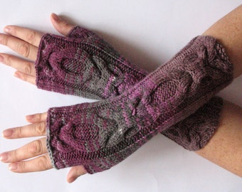 Fingerless Gloves Mittens wrist warmers Violet Purple Gray Dove