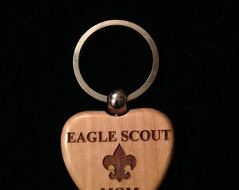 Eagle Scout Maple Heart Keychain - Laser Engraved