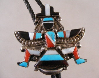 Large Vintage Zuni Signed Knifewing Inlaid Bolo Tie by Gary and Paulinis Vacit.....   Lot 3783