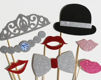 Wedding Photo Booth Props Set - 8 Piece GLITTER Set - Party Favor PhotoBooth Props - Birthday