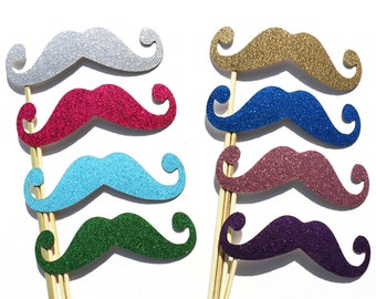 GLITTER Mustache Photo booth Props 8 Piece Set - Wedding Party Photo Props - Birthday