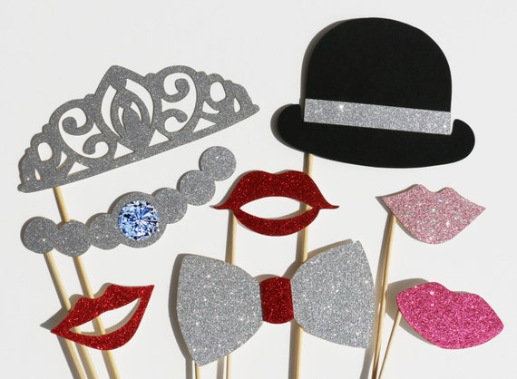 Wedding Photo Booth Props Set - 8 Piece GLITTER Set - Party Favor PhotoBooth Props