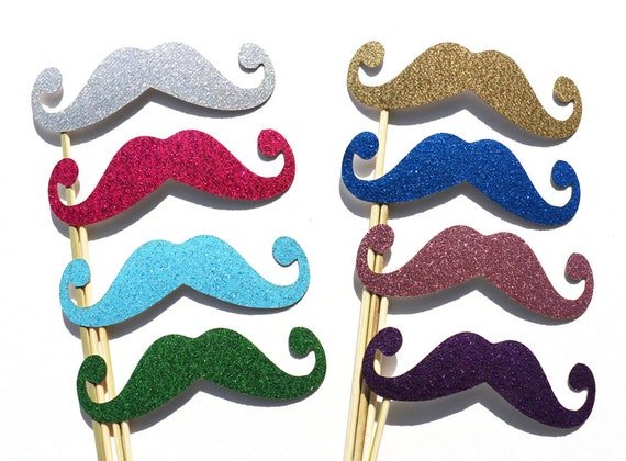 Photo Booth Props - GLITTER Mustache Photobooth Props 8 Piece Set - Wedding Party Photo Props - Birthday