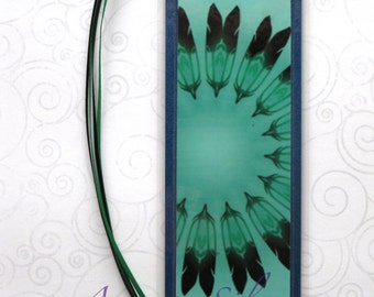 Handmade Laminated Durable Bookmark Feathers black and green or gift set with button, magnet, mirror or keyring
