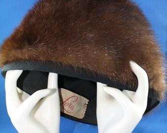 Vintage Mahogany Mink Pill Box Hat 1950s Genuine Mink Fur