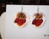 Owl Shell Red and Orange Earrings so Cute Hippie, Nautical, Hipster, Boho 3 in. Southwestern, Native Ready to Ship Great Gift