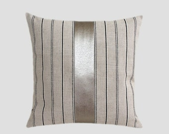 """Decorative Pillow case, Light Grey Linen Throw pillow case with a Faux Leather accent, fits 18"""" x 18"""" insert, Toss pillow case, Cushion case"""