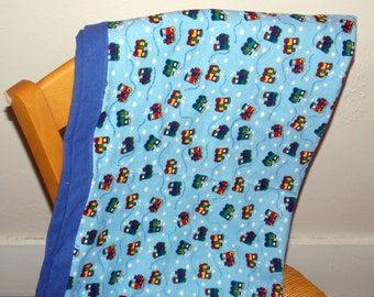 Trains receiving blanket. Flannel quilt.