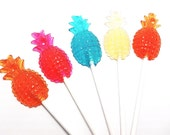 12 PINEAPPLE LOLLIPOPS - Pick Any Color or Flavor