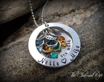 Personalized Family Locket Necklace - Hand Stamped Jewelry - Personalized Family Jewelry - Swarovski Crystal Birthstones - Mother's Day Gift