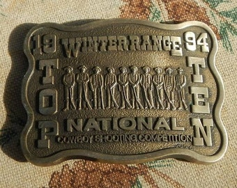 Vintage Belt Buckle 1994 Winter Range Top Ten National Cowboy Shooting Competition