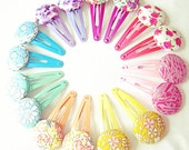 Liberty London Fabric Button Hair Clips. Hair Accessory for Girls. Vibrant, Bright and Colourful Rainbow Colours.