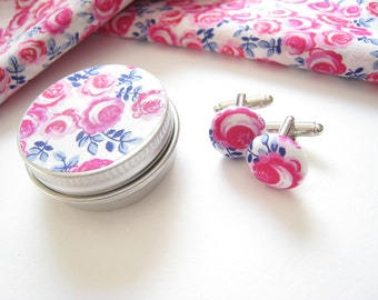 Liberty of London Earrings or Cuff Links 15 mm Fabric Button Kasia Pink and Ink. Mother's Day Gift.