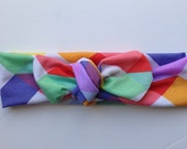 Multi color triangles baby knot headband