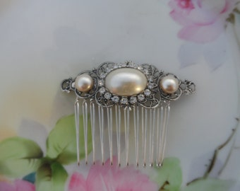 Bridal comb pearl comb silver comb hair comb Hair accessories bridal accessories wedding comb ivory pearl silver ox filigree