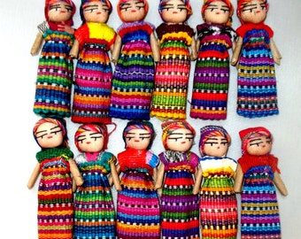 "12 Handmade 3"" Worry Dolls  Best Quality made in Guatemala"