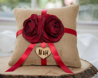 Red ranunculus flower brown burlap personalized ring bearer pillow  shabby chic with engraved initials... many more colors available