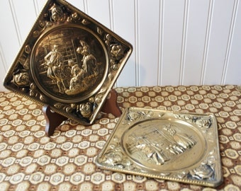 Vintage Embossed Brass Wall Decor Made in England
