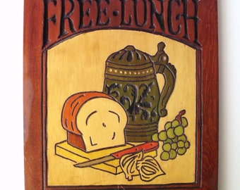 "Vintage Wooden ""Free Lunch"" Plaque Wall Hanging"