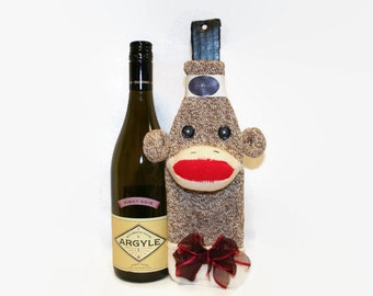 Sock Monkey Wine Bottle Cosy, Bottle Cosy, Sock Monkey Bottle Cosy, Wine Lover's Gift, Sock Monkey Gift
