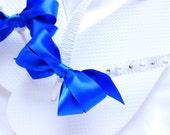 Bridal Sandals, bridal flip flops, Party favors Royal Blue Bridal Shoes Wedding cerimony destination wedding flip flops bridal shower