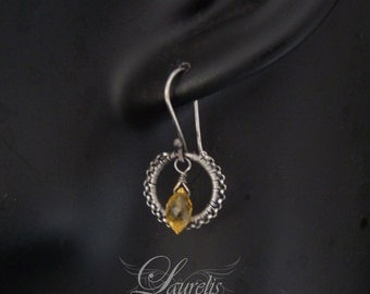Gothic Victorian simple earrings - sterling silver, citrine OOAK wedding bridesmaid gift sterling silver wirewrapped elegant