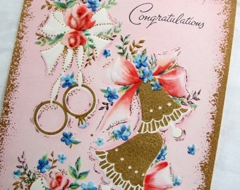 FREE SHIPPING Vintage Pink and Gold Wedding Card / Gold embossed Sunshine card /  Pink rose congratulations wedding card