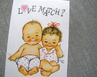 Charlot Byj Love Match Anniversary card / baby couple / 1940's small talk anniversary card