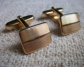 Vintage French Cuff Links 1960s Boutons de Manchettes Wedding Mariage Goldtone