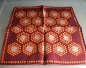 French Gentlemans Silk Hanky Handkerchief Brown & Orange Mouchoir Soie 1940/50s